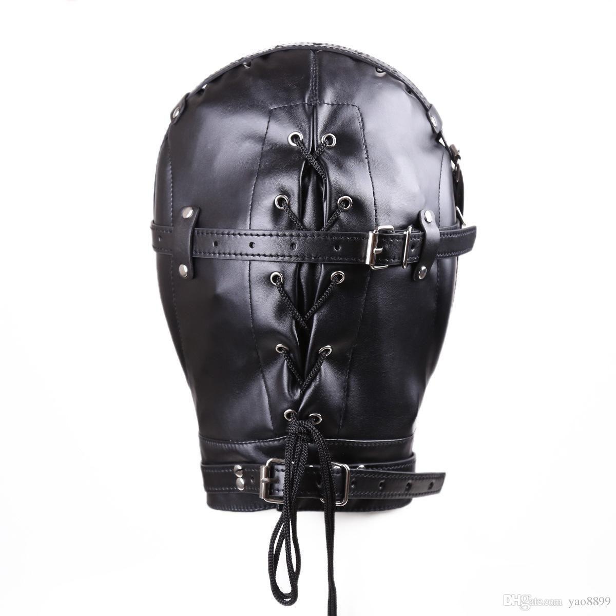 Nouveau masque d'esclavage BDSM avec bouche creuse Gag SM totalement fermé capot Sex Slave Head Hood Sex Toys pour les couples produit de sexe