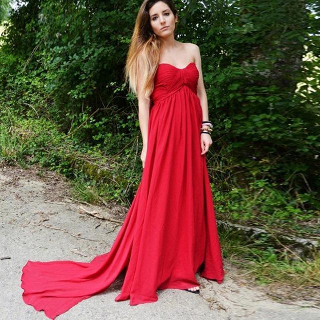 Einfache Mutterschaft Abendkleider 2016 Schatz Falten Drapierte Chiffon Rot Lange Plus Größe Schwangere Frauen Formale Abendkleider 2016