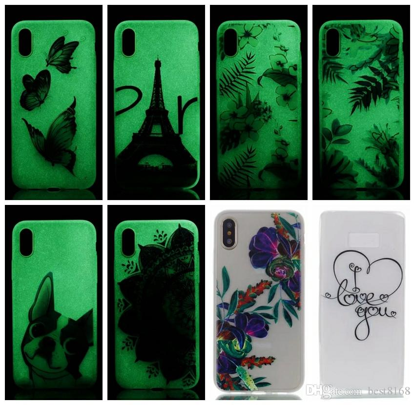 Flower Luminous Glow In the Dark Soft TPU Case For Iphone X Galaxy Note 8 Note8 Eiffel Tower Lace Skull Ultra thin Dog Clear Skin Cover