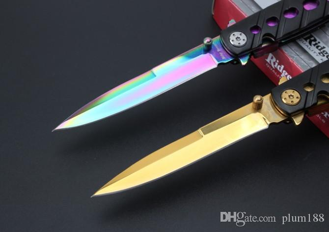 C059 cuchillo plegable de oro de tuhao cuchillo plegable de mango de mariposa cuchillo plegable para abrir la mini herramienta de camping al aire libre