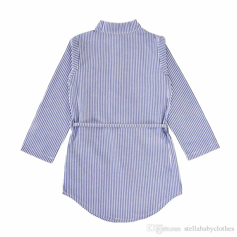 Western Floral Print Baby Mädchen Shirt Kleid 2017 Frühling Herbst Sky-blau vertikal gestreiftes lose Kleid Langarm Blumenmädchen Kleid