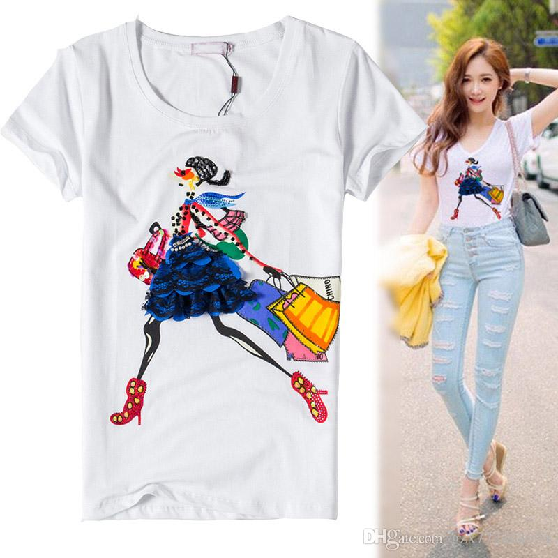 3fd471a347f New 2016 Spring And Summer Women Plus Size Women Tshirt Short Sleeve ...