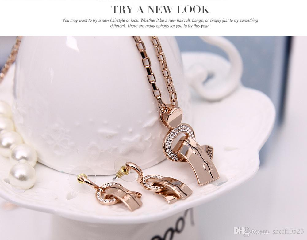Simple Luck Women Jewelry Set Fashion high quality Party wear accessories Necklace&Earrings Sets Min order 61152208