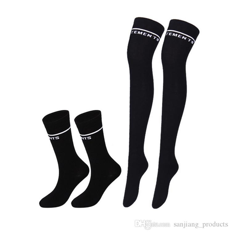 VETEMENTS Over-knee Socks Fashion Two bars show thin thigh high sock Sexy Letter Embroidery Stripe Long Sock For Women and Girl
