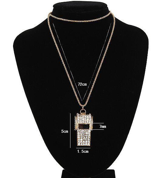 Silbato Collares de cristal Rhinestone lleno Bañado en oro Bisutería Cadena de suéter largo Chapado en oro Joyería deportiva