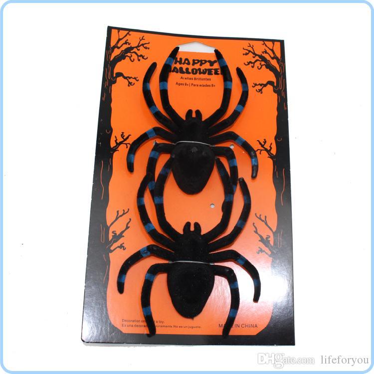 Spider Halloween Decoración maquillaje miedo apoyos Navidad Flocked Negro Funning Broma Truco Juguetes regalo Decoración Prop Jel Jewels Ornamento