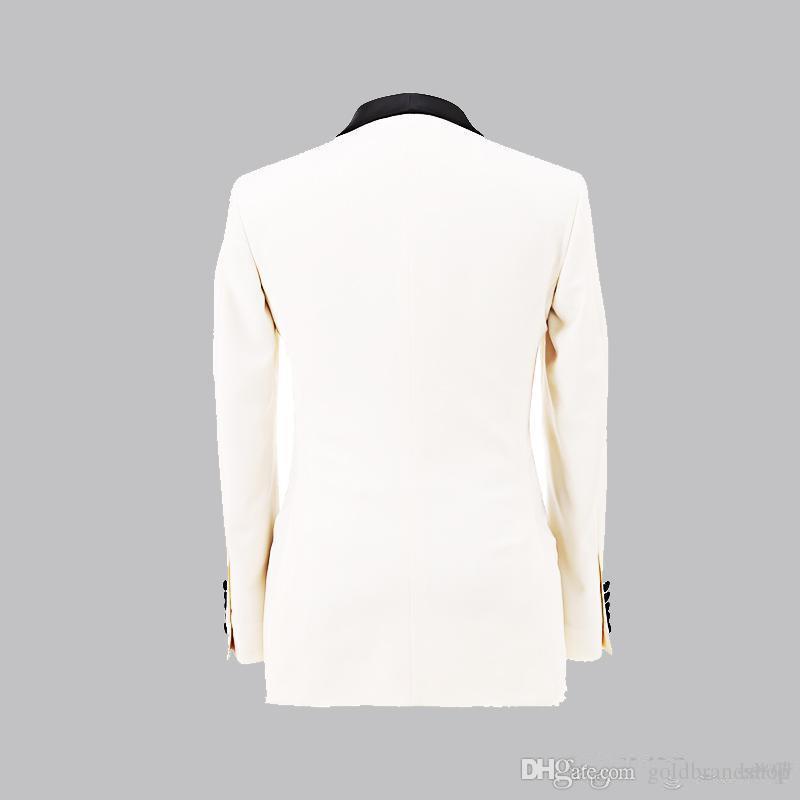 Custom MADE New White Jacket With Black Satin Lapel Groom Tuxedos Groomsmen Best Man Suit Men Wedding SuitJacket+Pants