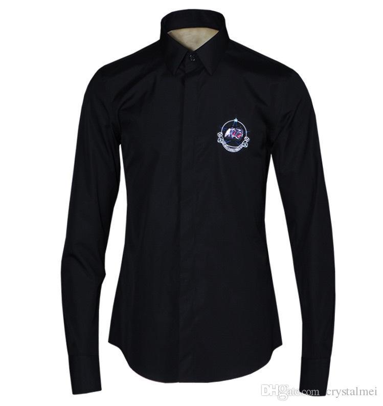 Freies Verschiffen 2016 neue Ankunfts-Art- und Weisestickerei und Digital-Abzeichen druckten Entwurfs-Qualitäts-Mens dünnes langärmliges beiläufiges Hemd-heißen Verkauf
