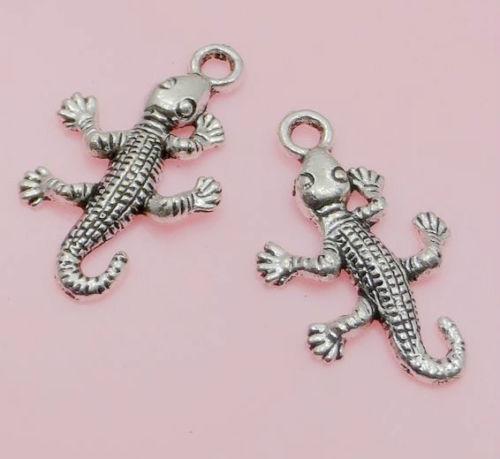 Navio livre Tibetano Prata Gecko Encantos Pingente Para Fazer Jóias 26x15mm