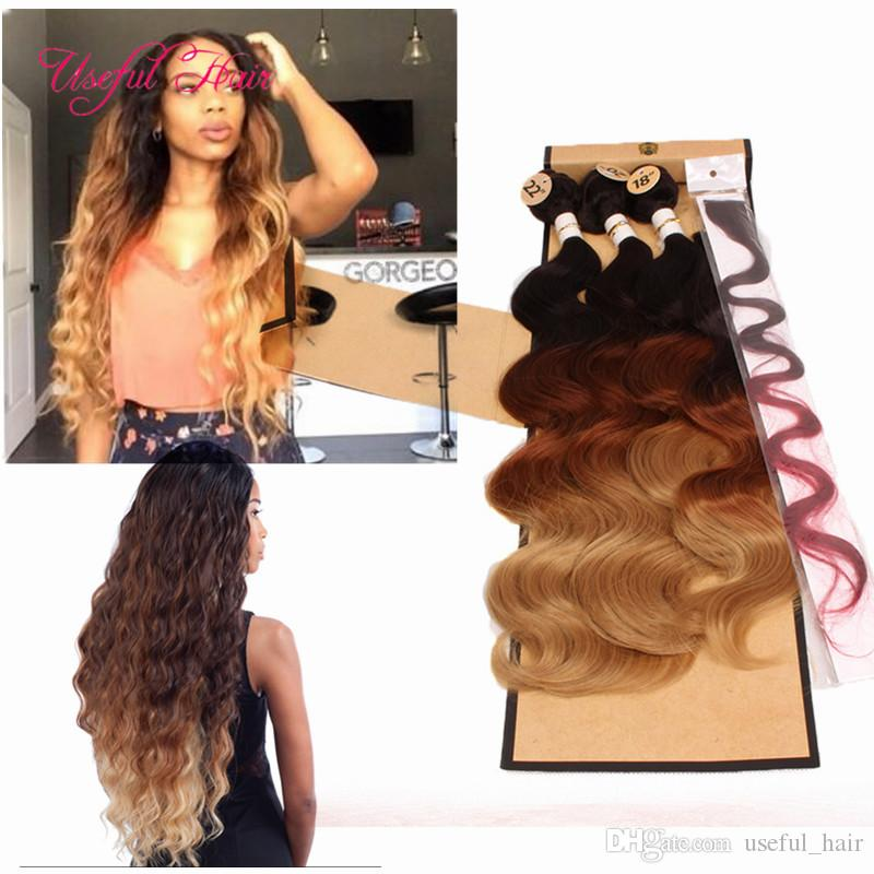 OMBRE COLOR Body Wave Hair Weaves =one Head Machine Double Weft Awesome Hair Weave Sewing Machine