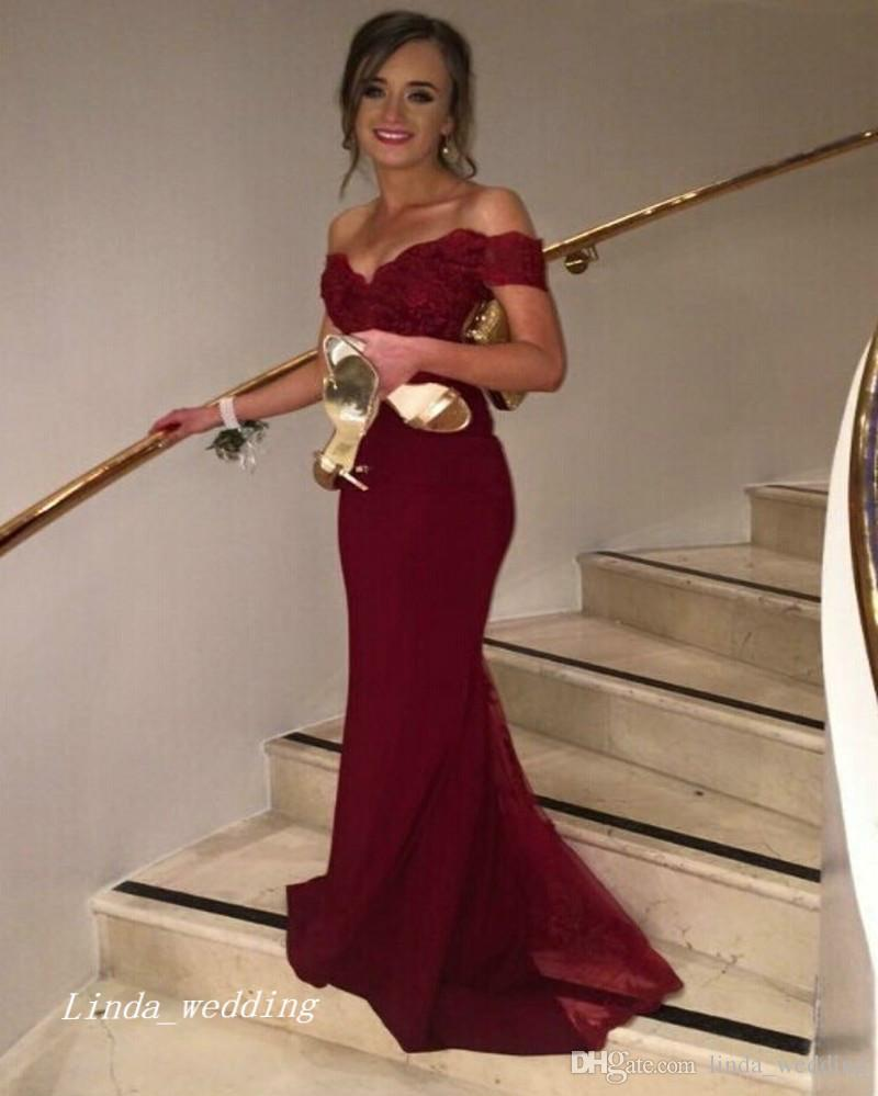 Marrón Hombro Compre Borgoña Vestido Sirena Rojo Fiesta De ymN0Ov8wn