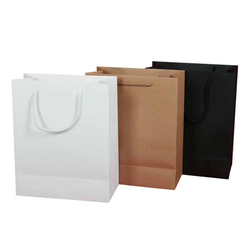 Wholesale 19X13X6cm Kraft Paper Wedding Gift Bag With Handle Birthday Party Christmas New Year Shopping Package Bags Wrapping Wraps
