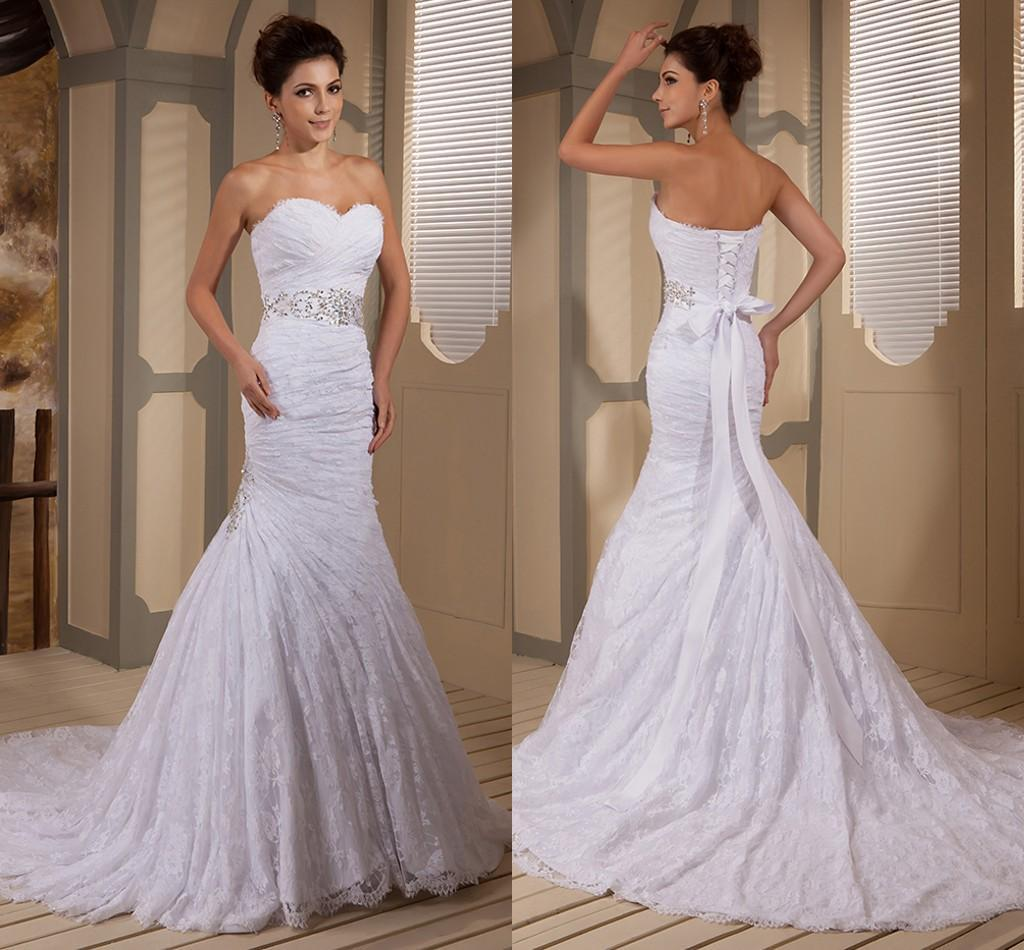 Discount opulent mermaid lace sweetheart strapless wedding for Designer wedding dresses at discount prices