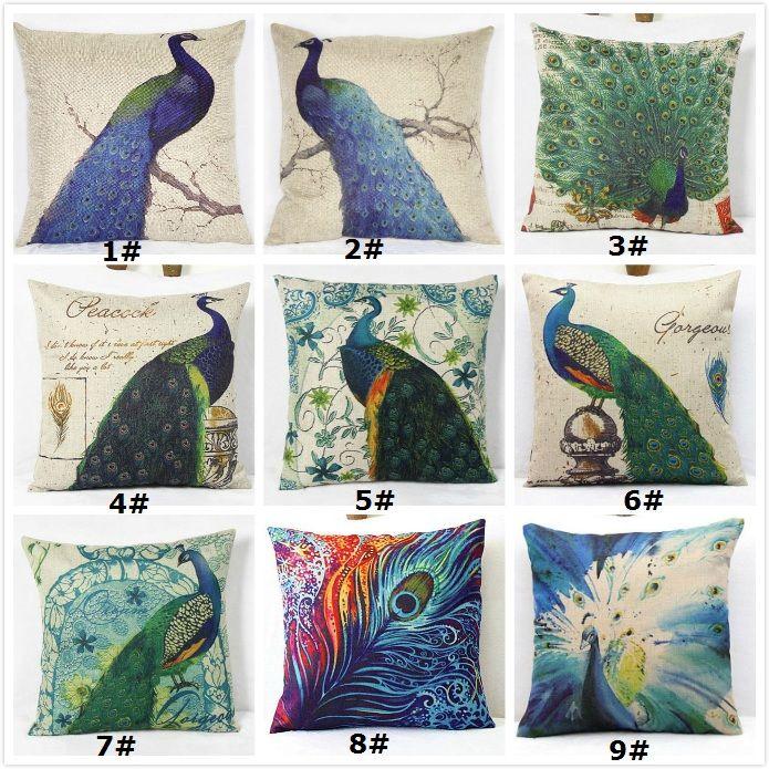 Oriental Peacock Print Cushion Cover 18 Zippered Pillow Case Throw