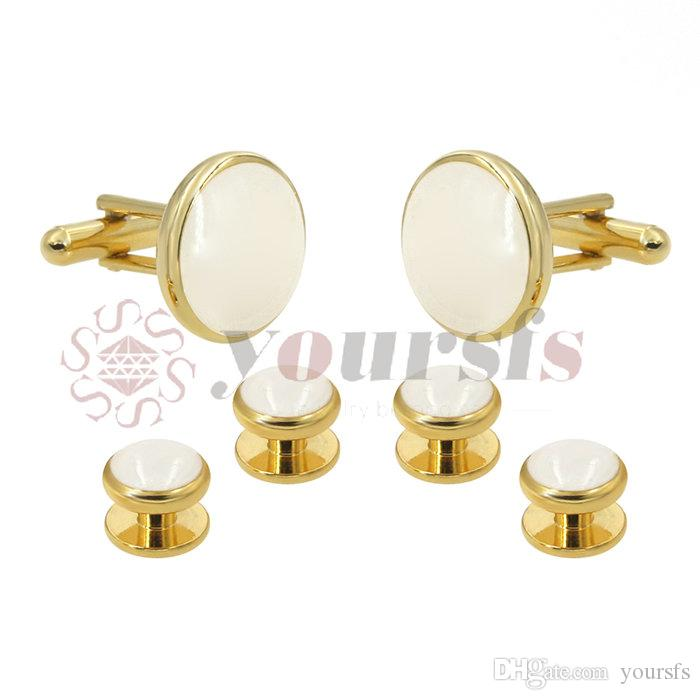 Yoursfs@ Classic Design Three Color Plated Formal Optional Color Enamel Cufflinks Tuxedo Studs Set