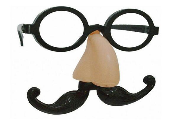 Divertido payaso Fake Big Nose + Gafas + Bigote Barba Fiesta de disfraces de Halloween Fiesta de baile Bola Gafas de propulsión Conjunto Travesura alegría