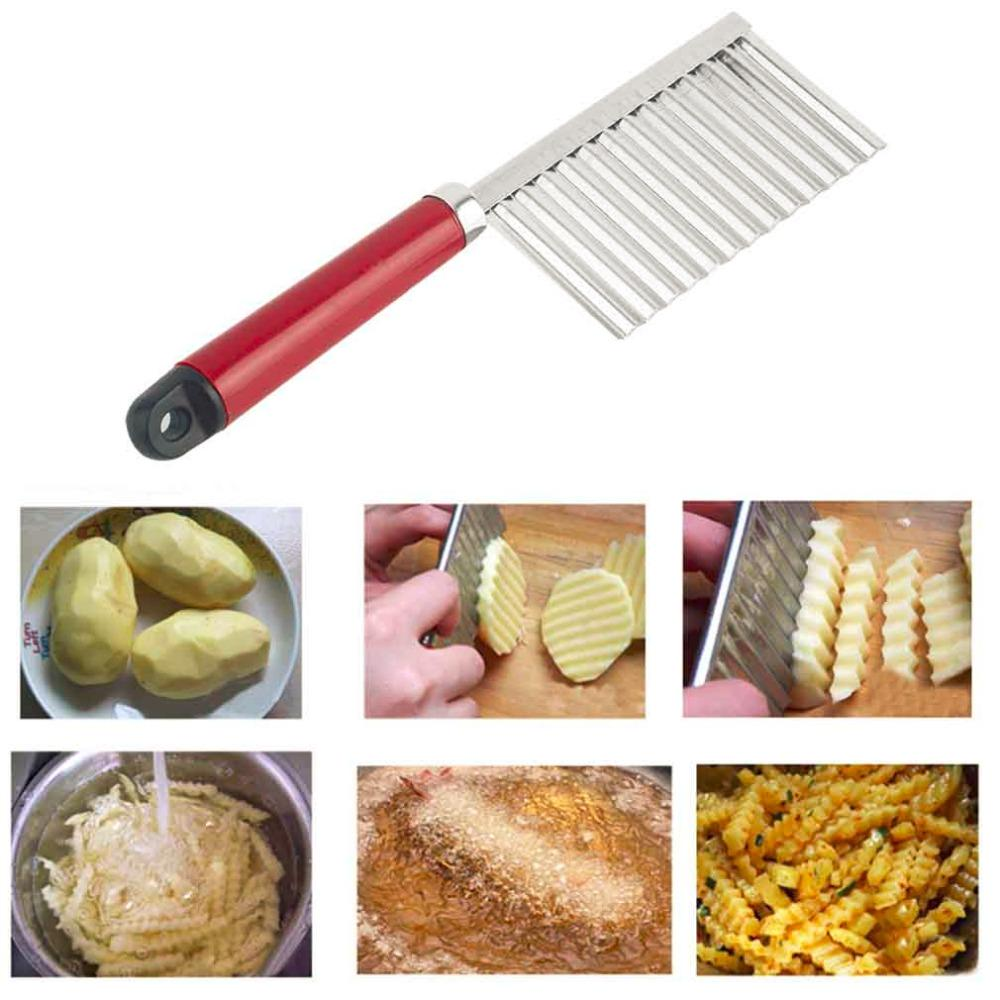 potato wavy edged knife stainless steel plastic handle kitchen