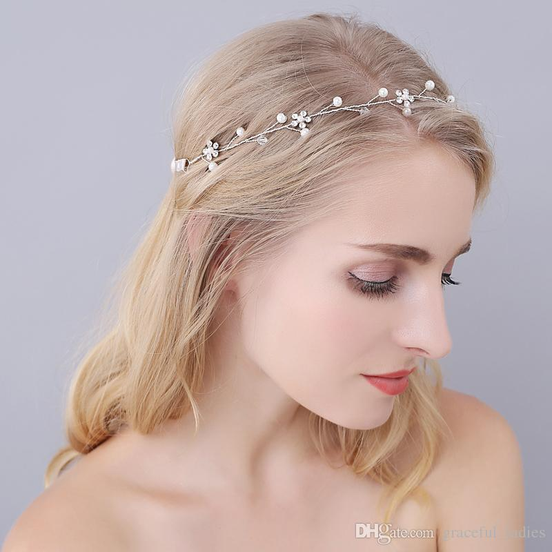 Real Image Bridal Headband Crystals Beads Bridal Accessories Simple ... a4577b3a0a5