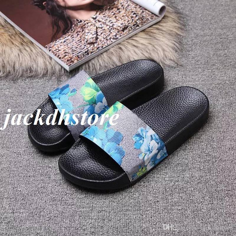 d5daa9d7ee72 Hotsale Mens And Womens Fashion Blue Flower Blooms Print Slide Sandasl Flip  Flops With Molded Rubber Footbed Sandals For Men Jelly Sandals From  Jackdhstore