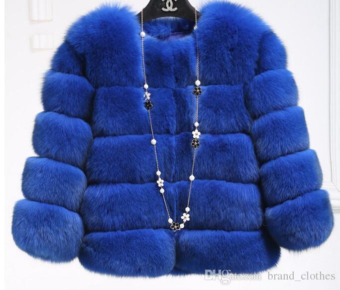 Nouvelle Arrivée 2017 Mode Femmes Manteau De Fourrure De Haute Qualité Faux Fox Patchwork Fourrure À Court Manteau Femelle D'hiver Chaud Veste Parka