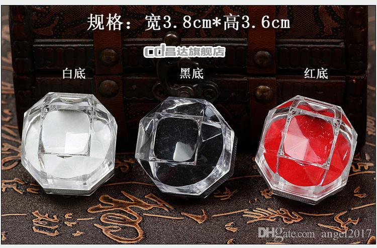 Plastic octagonal ring box pendant jewelry box jewelry box earring cartridge High quality box crazy shopping wholesale