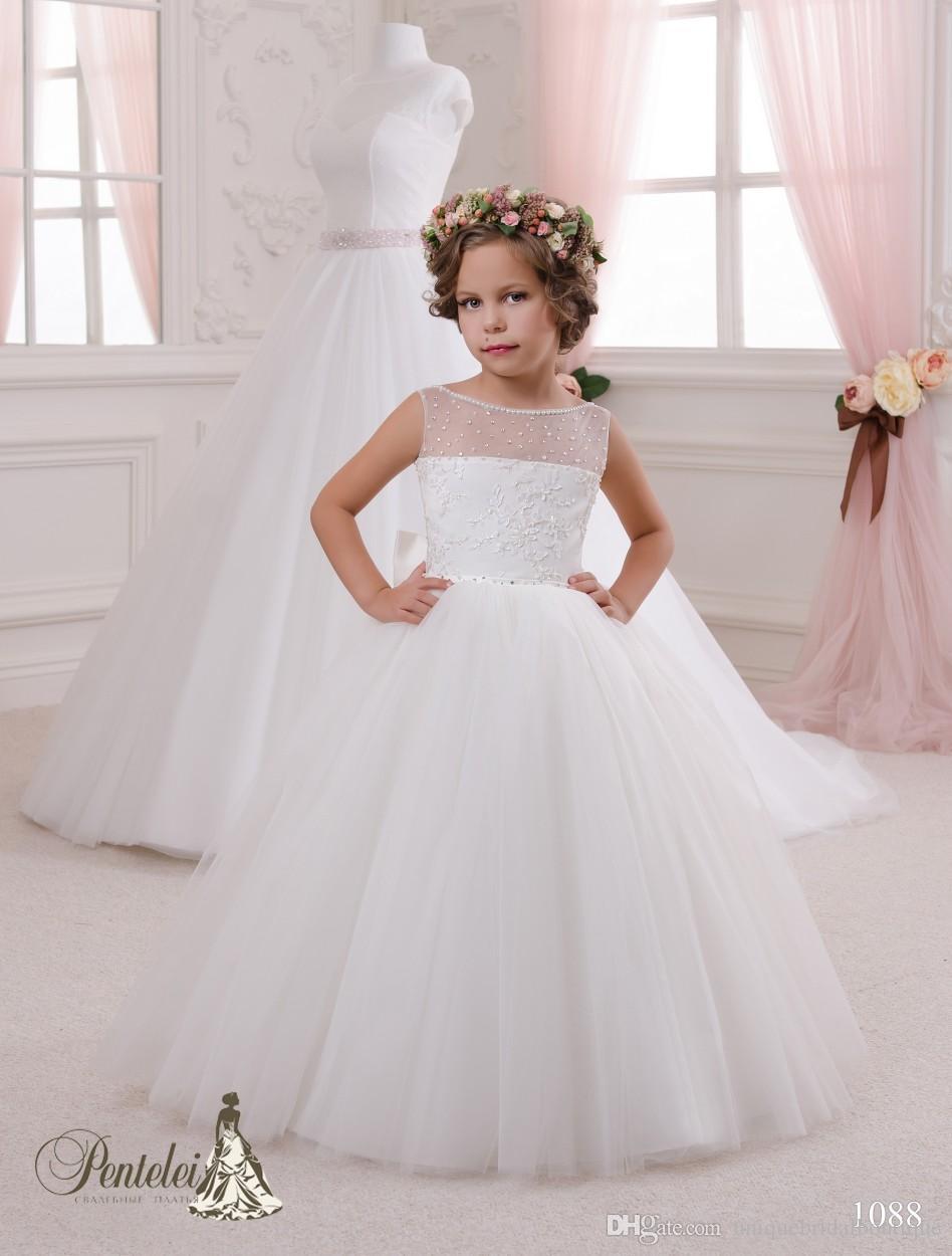 2016 vestidos de meninas de flor para casamentos com rendas até costas e frisada pescoço tule vestido de baile meninas vestidos feitos sob encomenda