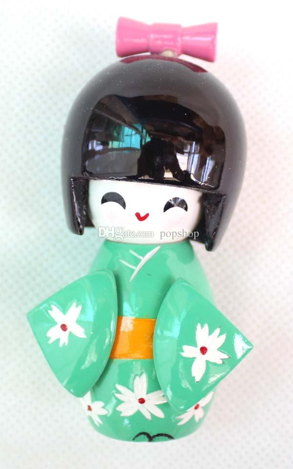 three szie 9 cm CUTE collectibles Japanese Wooden Doll KOKESHI with KIMONO Figure,doll girls kids gift