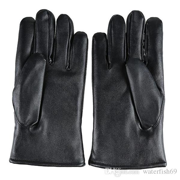 New Men Super Luxurious PU Leather Winter Gloves touch screen smart phone gloves Driving Cycling Motorcycle Gloves Cashmere Wind-Resisting