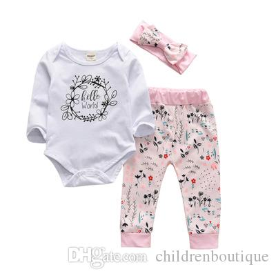 35f9d6b550cc Baby Cothing Sets Spring Autumn Flowers Letter Girls Clothes Hello ...