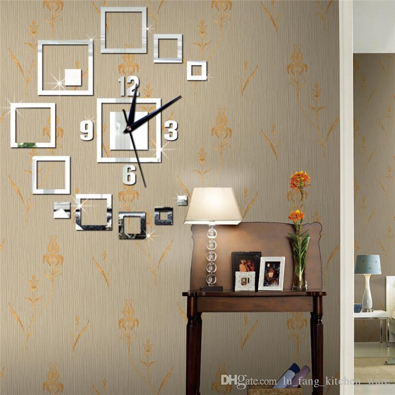square mirror wall stickers clock gold Creative Home Decor DIY Carved bedroom Removable Decorate art wall clock 2017 3d stickers wholesale