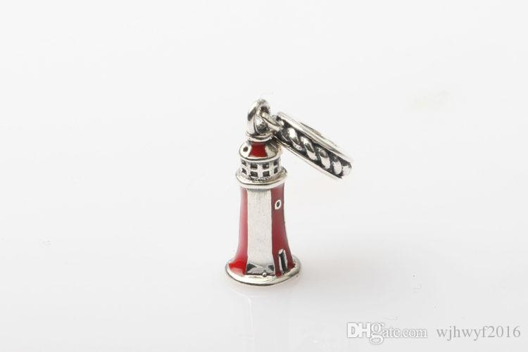 Enamel Lighthouse Charms Pendants Real 925 Sterling Silver Dangle Travel Charm Beads DIY Brand Logo Bracelets Jewelry Accessories HB351