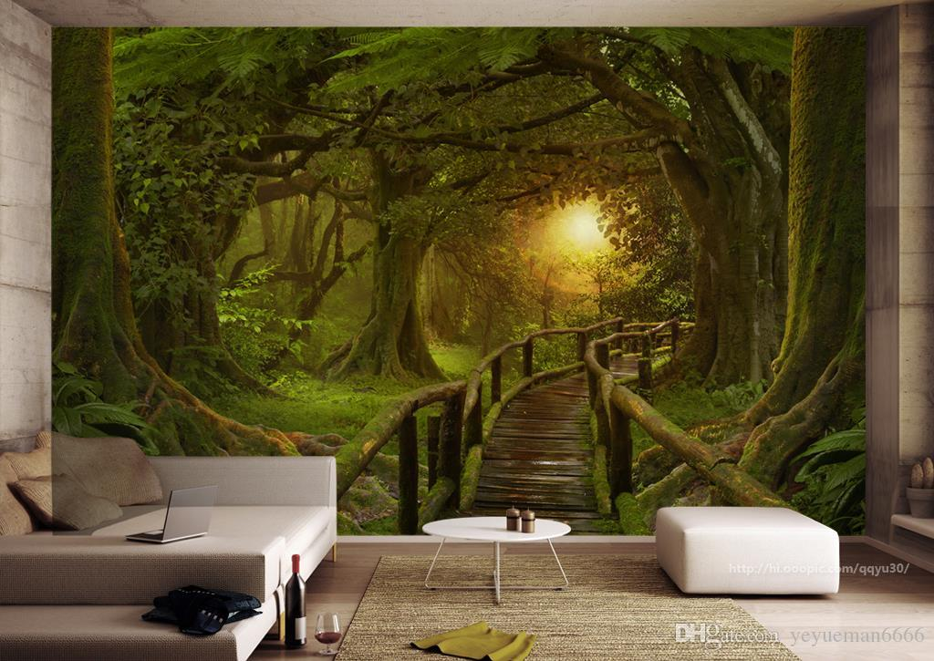 Forest wall mural wallpaper home design for Mural 3d wallpaper