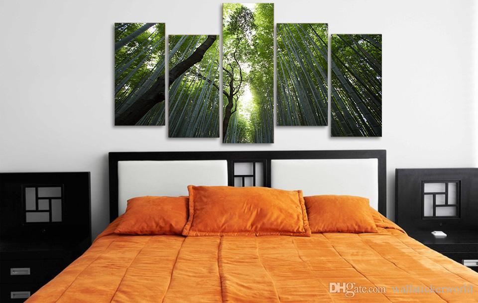 / Ensemble Encadré Imprimé bambou forêt paysage Peinture Toile Imprimer chambre décor impression affiche photo toile Livraison gratuite / ny-4514