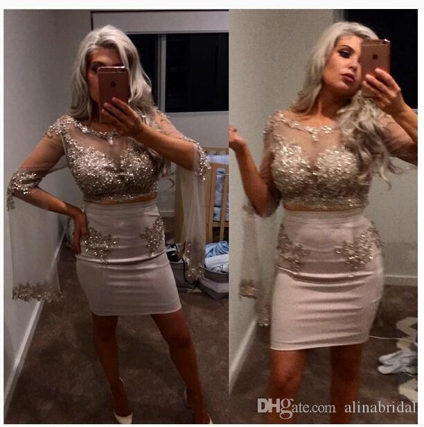 Two Piece Short Sheath Cocktail party Dresses with Long Sleeve Summer Applique Lace Beaded Sequined Sheer bodice Formal Prom Dress