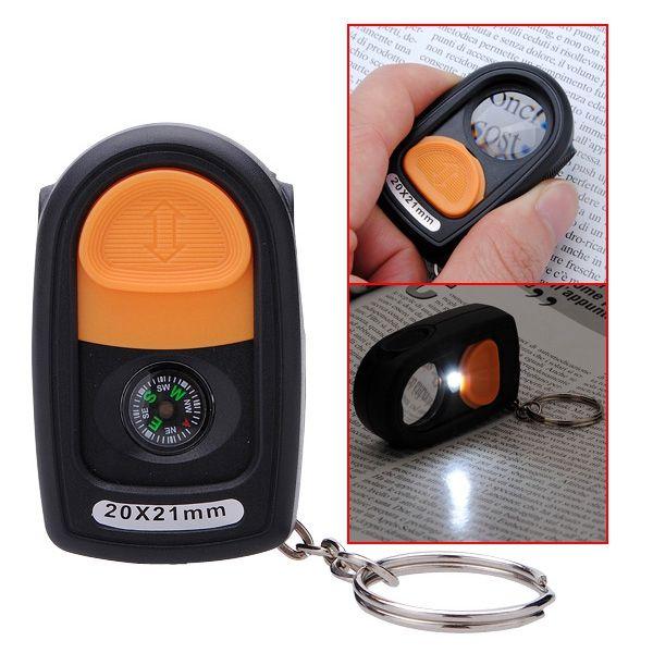 La mejor promoción 20X21mm LED Light Jewelry Lupa Lupa Lupa Lupa CompassKeyring Nueva Llegada