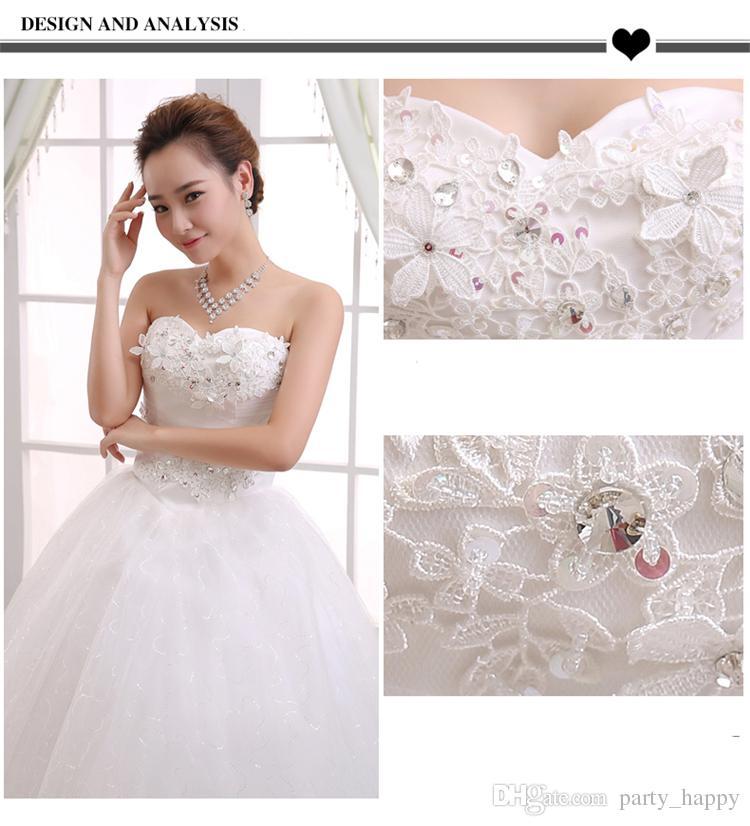 2016 Wedding Dress Korean Strapless Dress Han Edition Princess Elegant Beauty Party Pageant Ball Bridal Gown Skirt Red Carpet Dresses