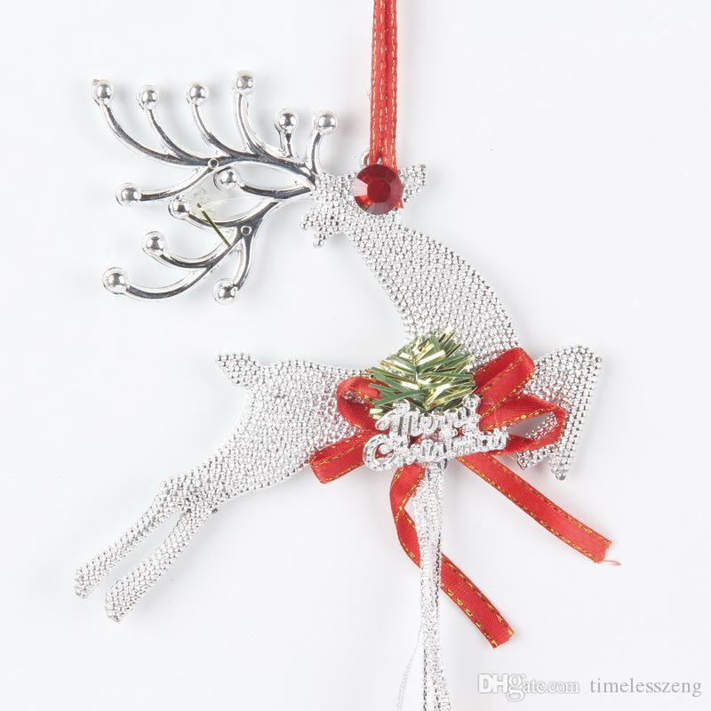 Рождественская елка украшения аксессуары оленей и пластиковые колокола кулон семейный фестиваль украшения поставляет золото и щепка цвет
