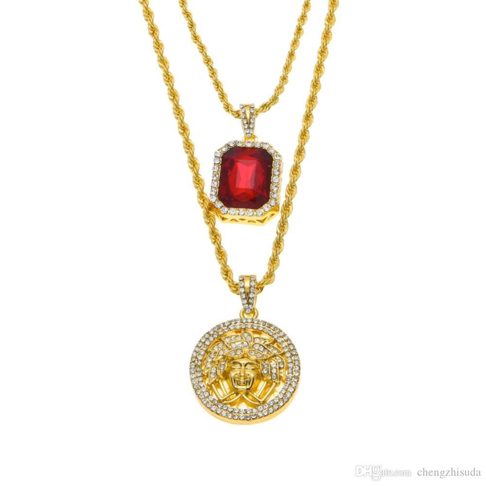 Set di collane di gioielli rubini ghiacciati da uomo Set di micro rubini angelo esus ala pendente collana hip-hop all'ingrosso all'ingrosso