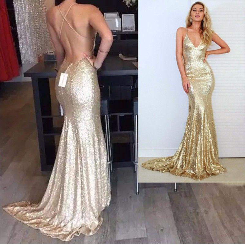 Vraie Image Champagne Or Sirène Robes De Bal 2016 Sparkly Longue Paillettes Robes De Soirée Dos Ouvert Sexy Sequin Robe Dos Nu