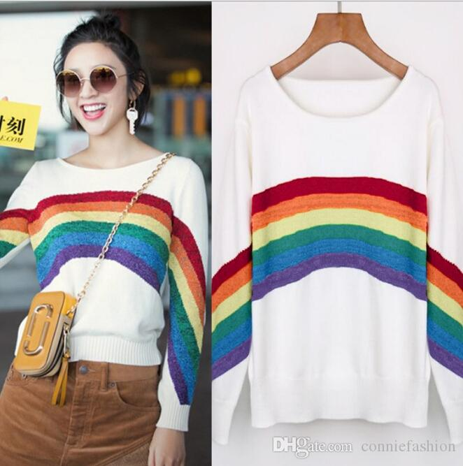 0150774fde 2019 2018 Autumn Rainbow Striped Knitwear Women S Fashion Design Knitted  Pullover Sweater Casual Multi Color Long Sleeve Knit Cotton Jumper Top From  ...