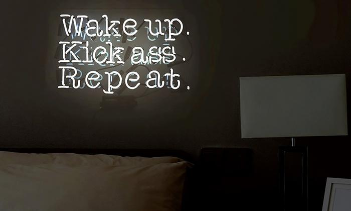 2019 Wake Up Kick Ass Repeat Real Glass Neon Light Sign