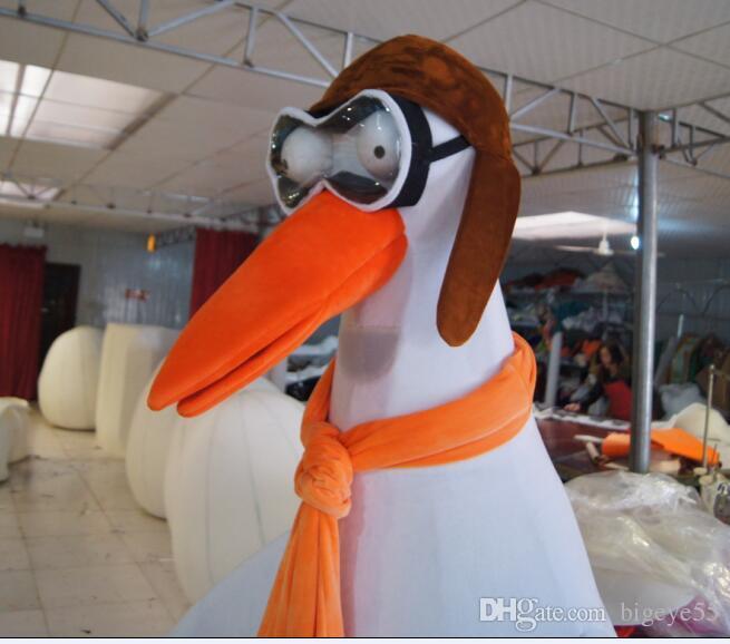 Yüksek kalite Gerçek Resimler Pilot vinç maskot kostüm Yetişkin Boyutu fabrika doğrudan ücretsiz kargo