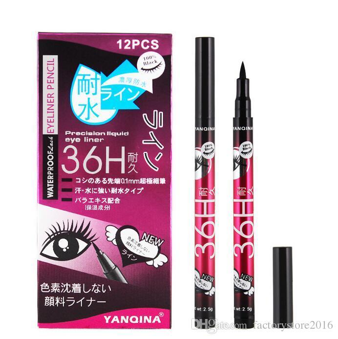 YANQINA النساء فتاة سوداء للماء القلم السائل كحل العين بطانة قلم رصاص 36H ماكياج الجمال Comestics دروبشيبينغ
