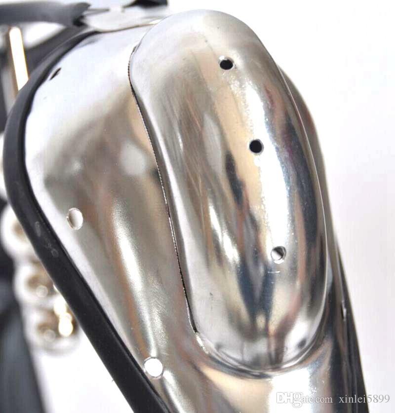 NOUVEAU mâle dispositif de chasteté en acier inoxydable modèle-t courbure taille réglable ceinture de chasteté avec anal bout à bout plug bdsm sex toy