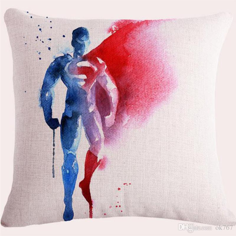 2017 Aquarelle Avengers Justice League super-héros Capitaine Américain L'homme de fer Thor Homme de toile de coton Hulk Coussin / Housse de coussin