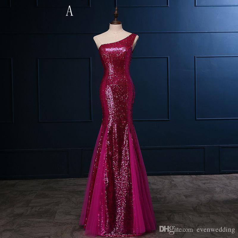 Sequins Tulle Mermaid Bridesmaid Dresses 2018 섹시한 긴 들러리 가운 2 스타일 혼합 주문 레이스