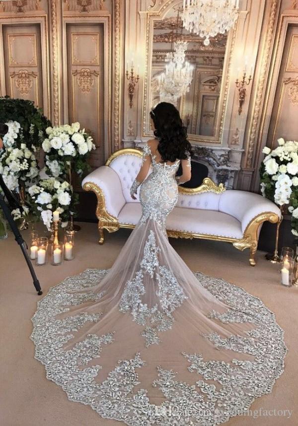 Arabische Meerjungfrau Langer Zug Brautkleid Sexy Langarm Spitze Appliques Perlen Kristalle High Neck Durchsichtig Brautkleider