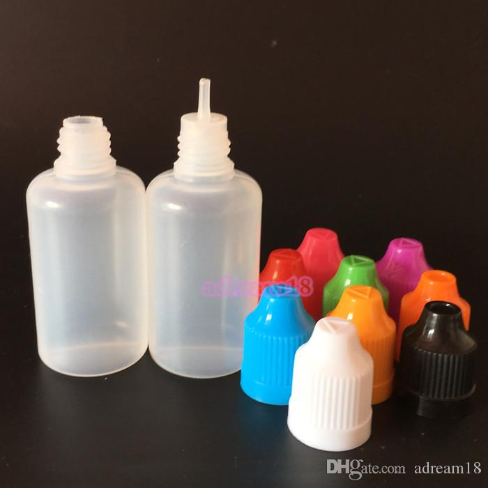 Prix de gros 30ml E bouteilles liquides PE E-jus aiguille Conseils en plastique Bouteille 30ml Dropper Proof Caps enfant bouteilles vides