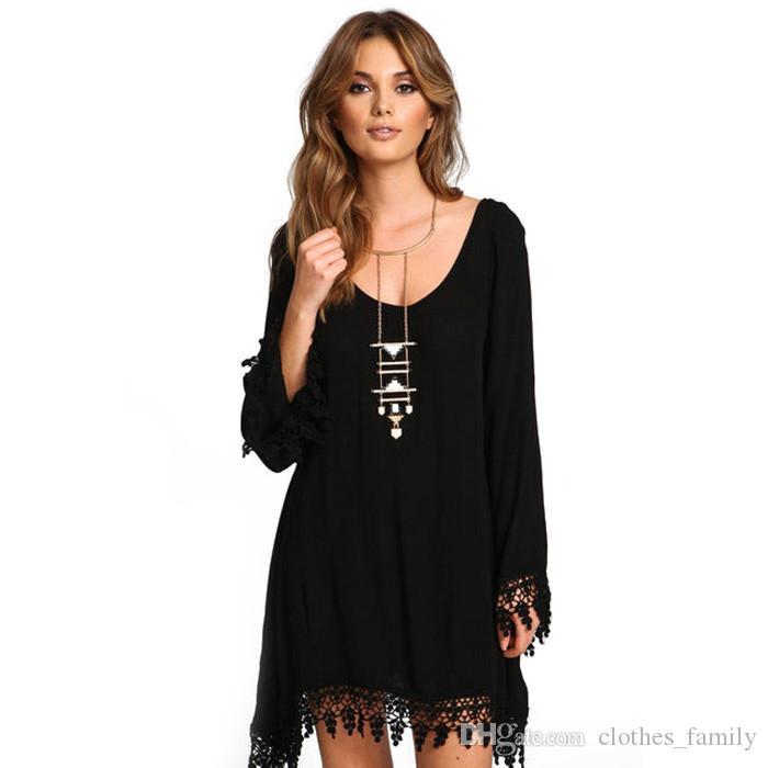 Top 2018 Spring New High Quality Women Fashion Dresses Scoop Neck A-line Tassels Dresses Casual Slim Sexy Skirts Plus Size Irregular Blouse