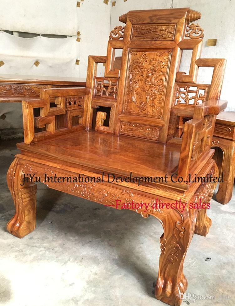Luxury chair in natural lacquer craft office boss chair living room armchairs luxury wood home chair 100% African Red sandalwood chairs